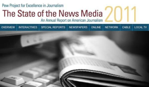 A screengrab from the State of the News Media Report's website.