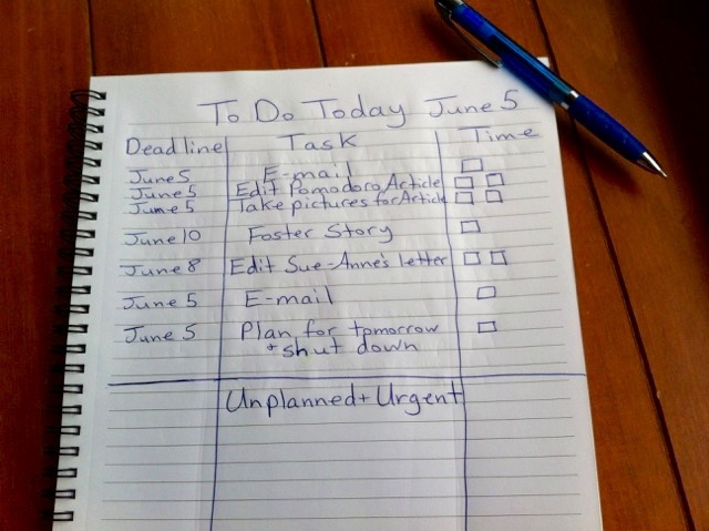Set up your daily plan like this. Don't forget the 'Unplanned and Urgent' section!